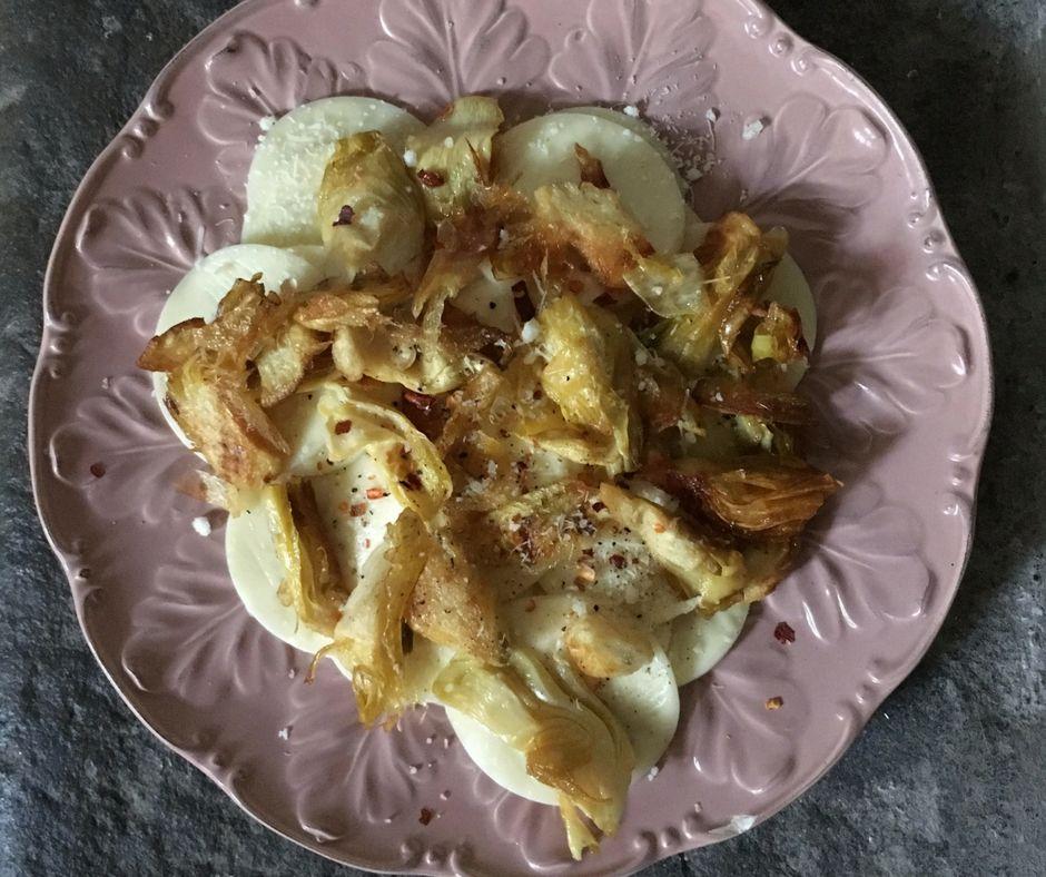 Corzetti Pasta with Fried Baby Artichokes