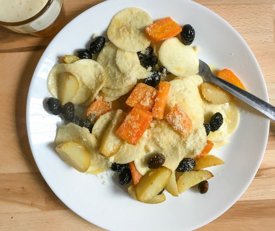 corzetti pasta with roasted root vegetables and olives