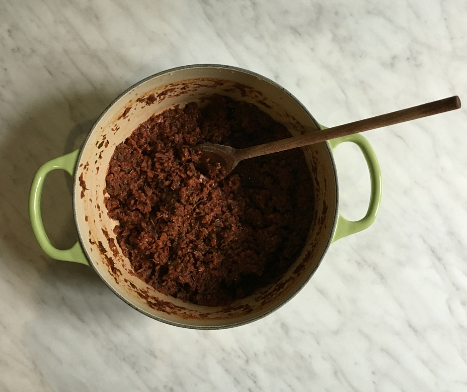 Pot of vegetarian ragu or sugo finto for corzetti pasta