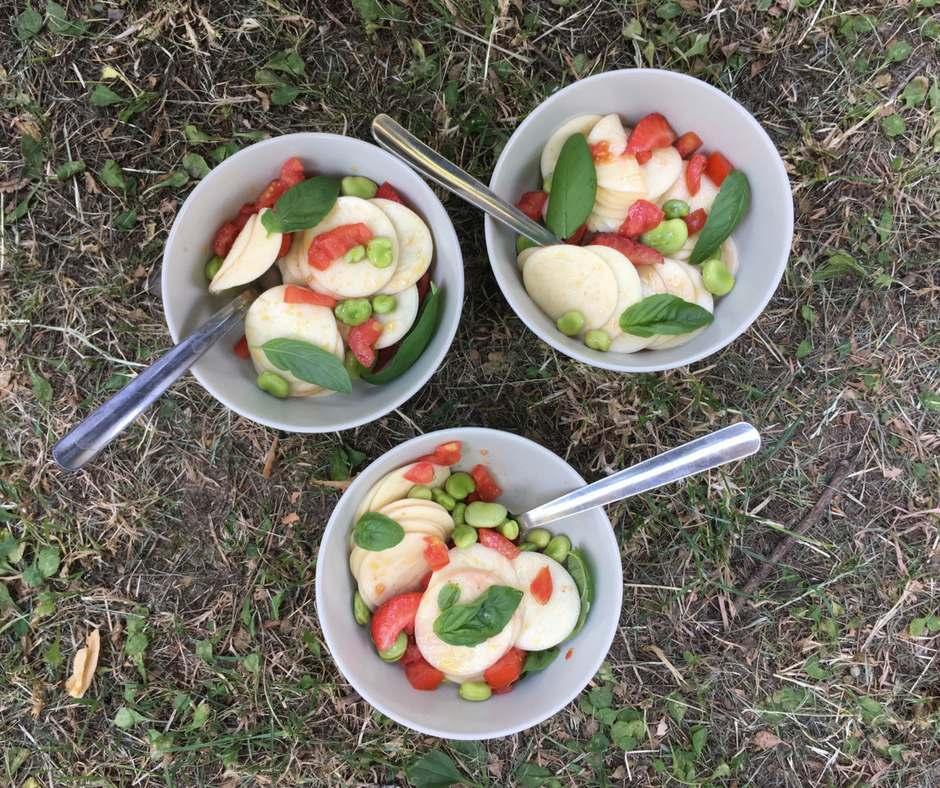 corzetti pasta salad with fava beans, tomato and strawberry