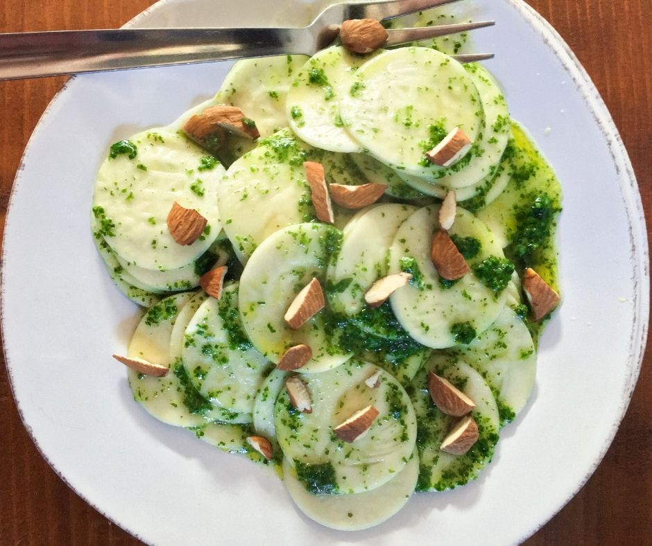 corzetti pasta with mint and almond pesto