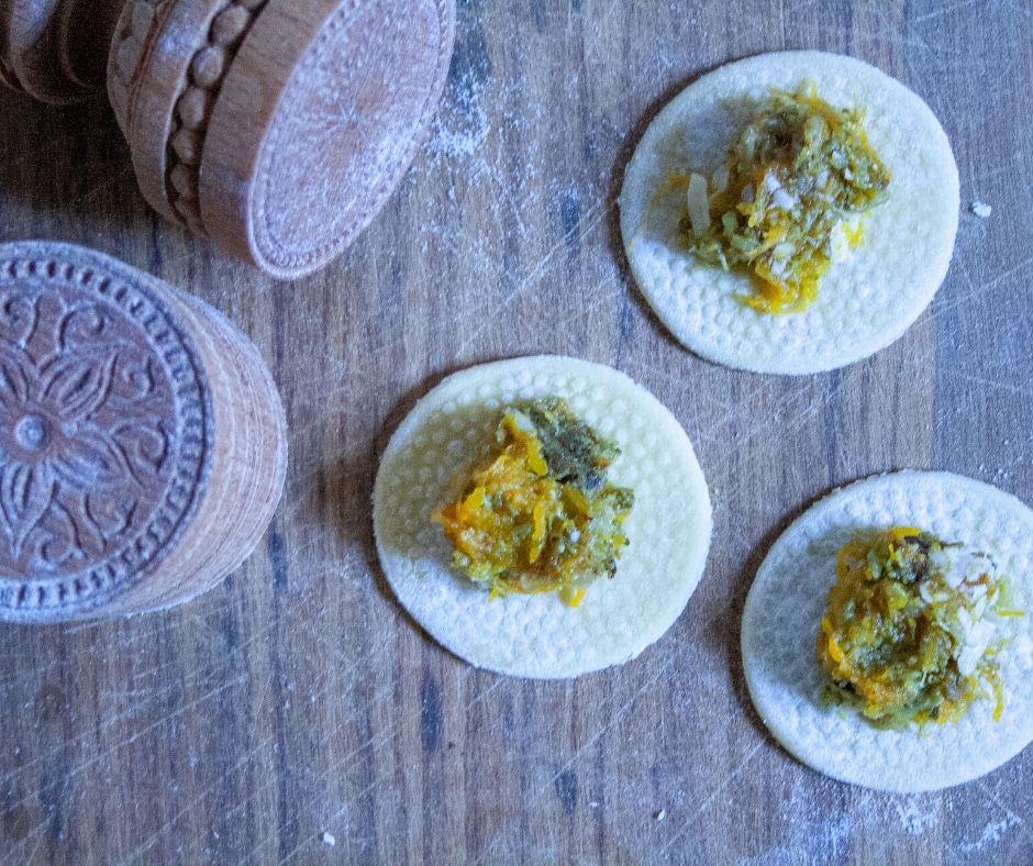 stuffed corzetti ravioli