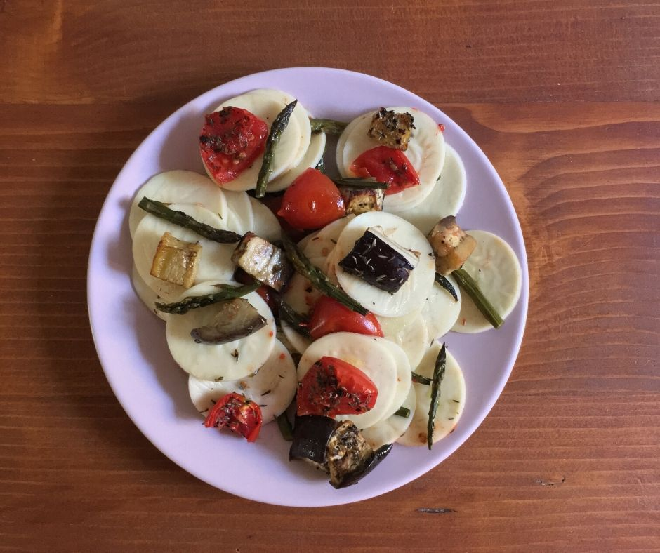 corzetti pasta with roasted mediterranean vegetables