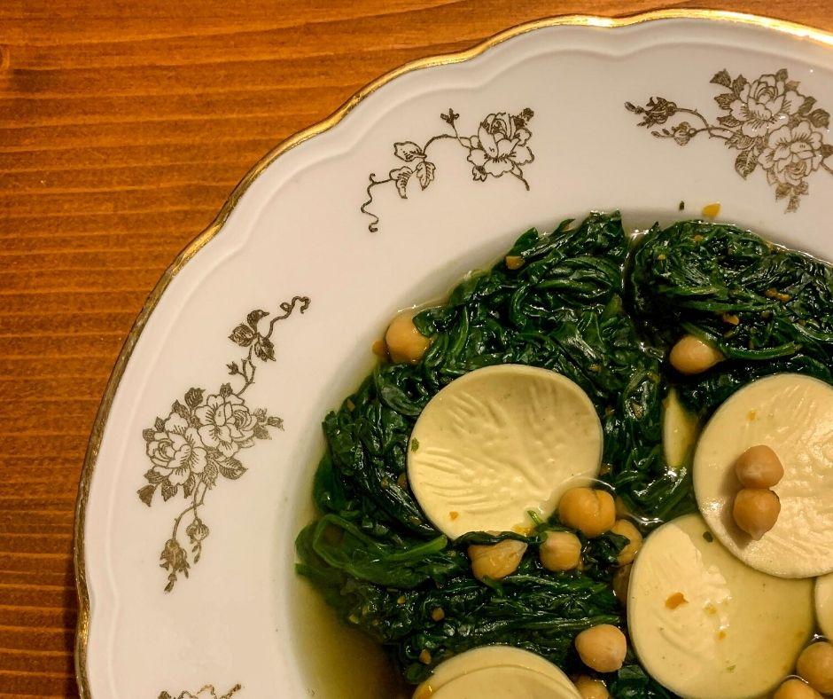 spinach and corzetti pasta soup